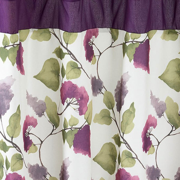 Closeup shot of Plum Jasmine Fabric Shower Curtain fabric