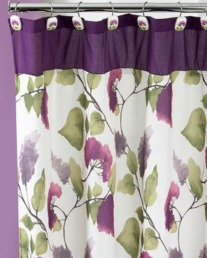 Plum Jasmine Fabric Shower Curtain hanging on a shower curtain rod