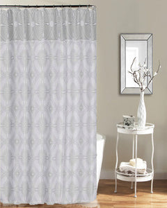 Silver Jennifer Adams Ariel Shower Curtain hanging on a shower curtain rod