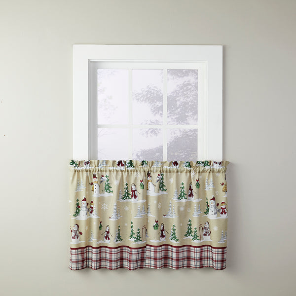 Joyful Snowfriends Kitchen Tiers and Valance