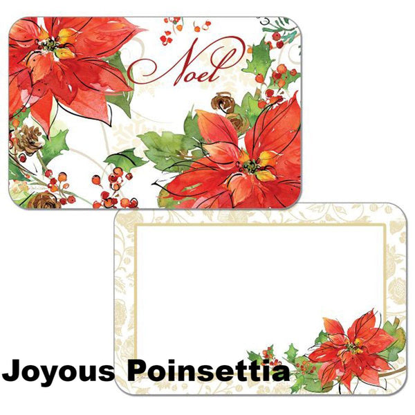 Joyous Poisettia Assortment Christmas Reversible Plastic Placemats