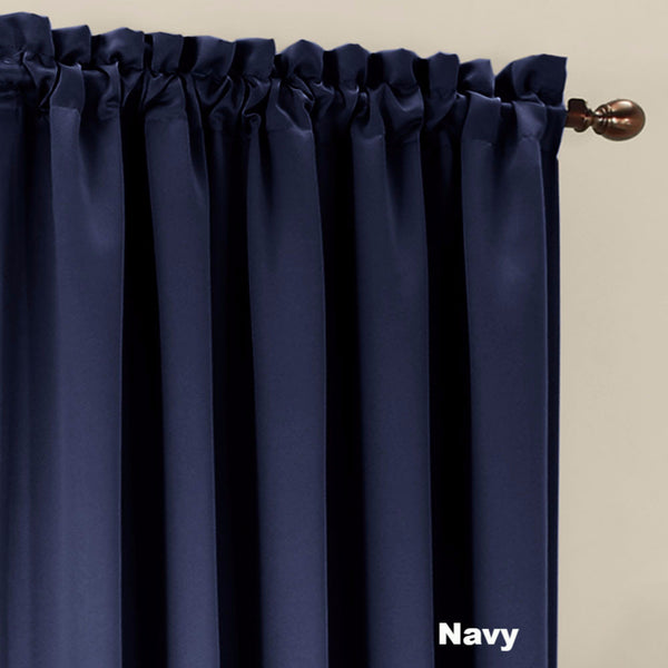 Close up Navy Sun Zero Julian Room Darkening Panel fabric