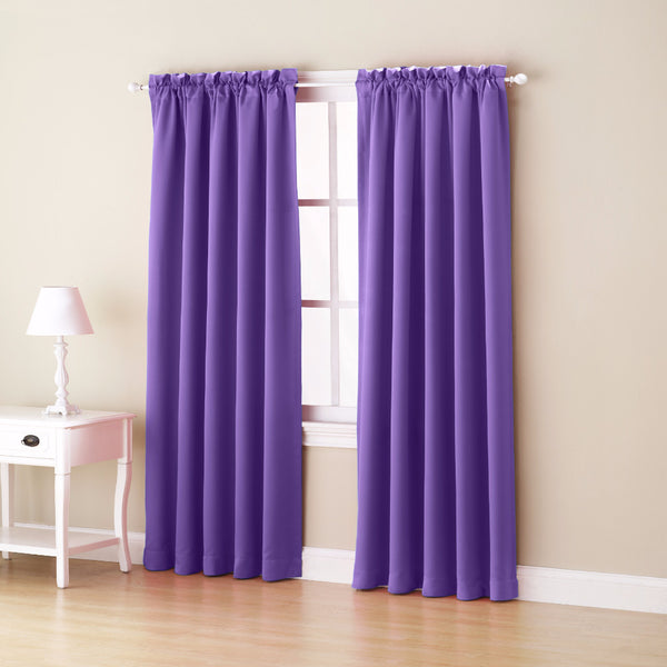 Purple Sun Zero Julian Room Darkening Panel hanging from a decorative curtain rod