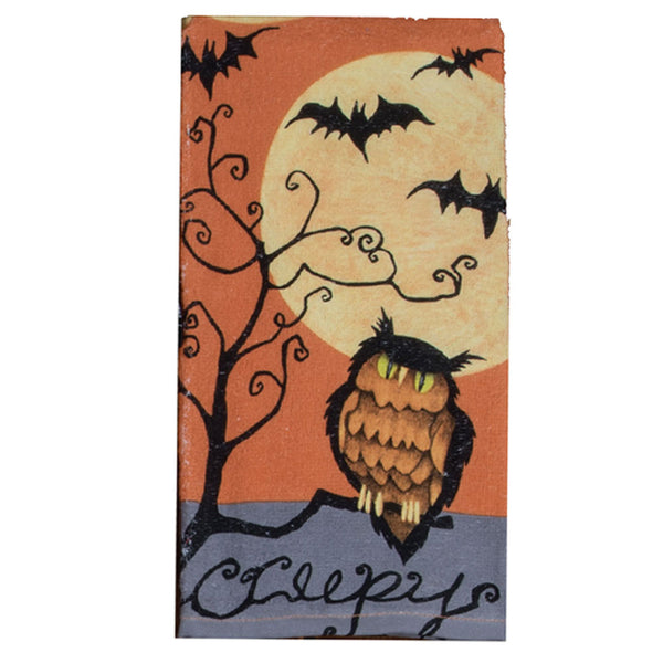 Halloween Kitchen Terry Towel creepy owl