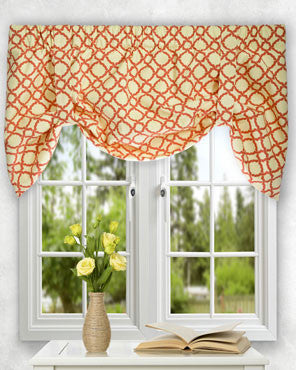 Kent Crossing Lined Tie Up Valance hanging on a curtain rod
