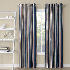 Charcoal Kent Printed Grommet Top Panel hanging on a decorative curtain rod