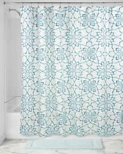 Teal Kenzie Floral Fabric Shower Curtain hanging on a shower curtain rod