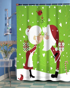 Green Kissing Claus Fabric Shower Curtain hanging bathroom curtain rod