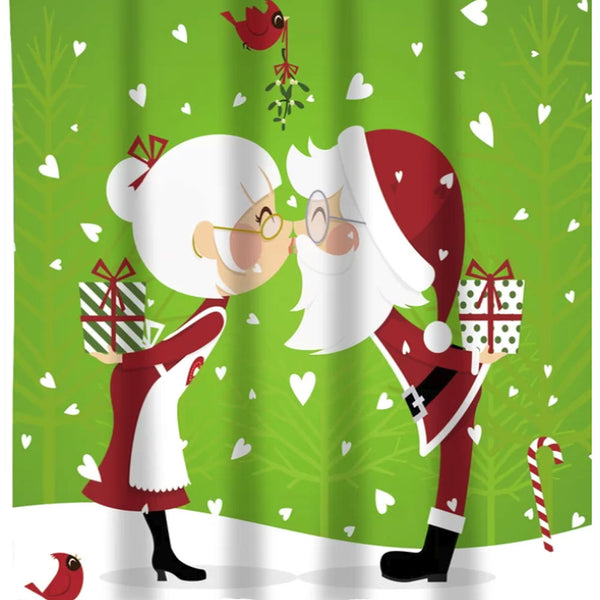 Closeup of Green Kissing Claus Fabric Shower Curtain fabric
