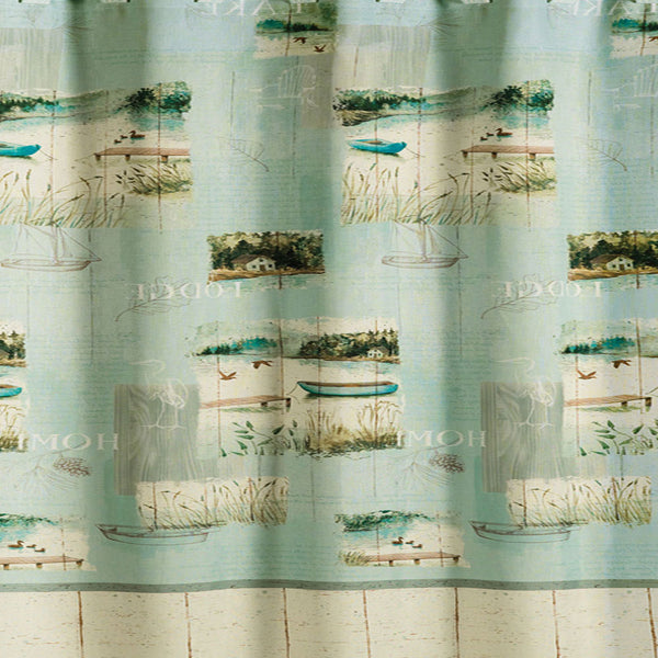 Up close shot of Sage Lake Retreat Fabric Shower Curtain fabric