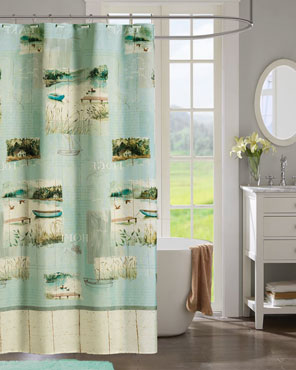 Sage Lake Retreat Fabric Shower Curtain hanging on a bathroom rod
