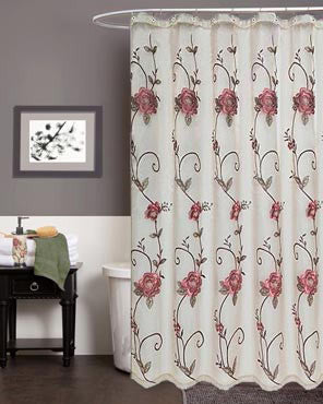 Rose Pink Larissa Fabric Shower Curtain Hanging On A Rod