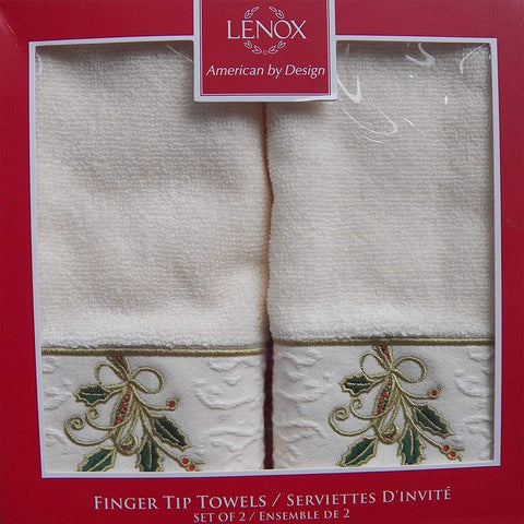ivory Lenox Ribbons and Holly 2 Piece Finger Tip Set