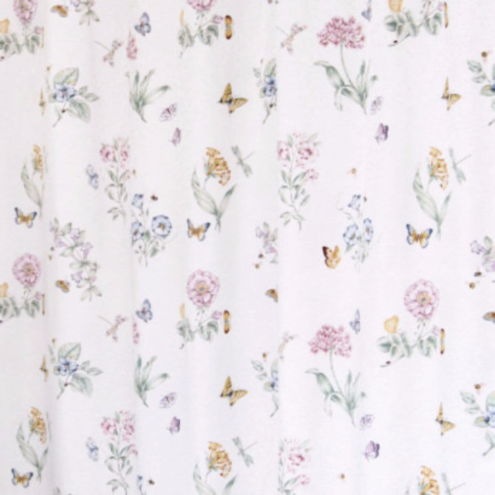 Closeup Shot Of White Lenox Butterfly Meadow Fabric Shower Curtain