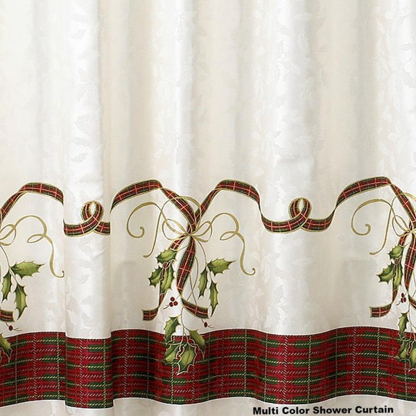 Closeup shot of Multi Lenox Holiday Nouveau Fabric Shower Curtain fabric