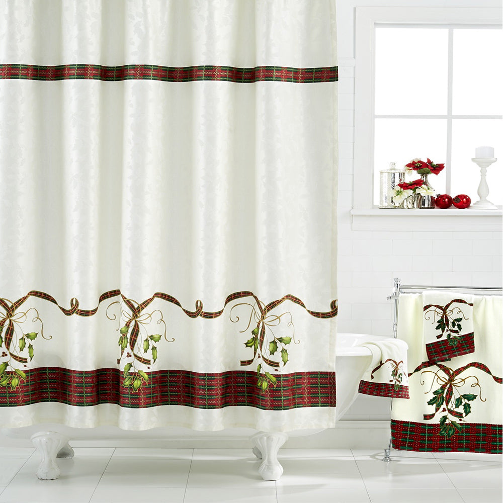 Multi Lenox Holiday Nouveau Fabric Shower Curtain hanging on a shower curtain rod
