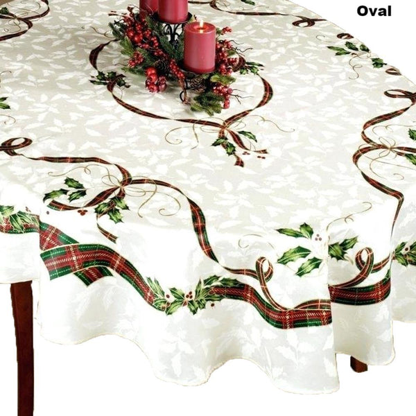 Closeup of Holiday Nouveau Fabric Tablecloth spread over a table