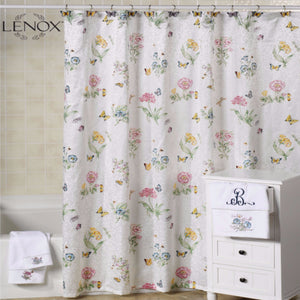 White Lenox Butterfly Meadow Fabric Shower Curtain Hanging On A Rod