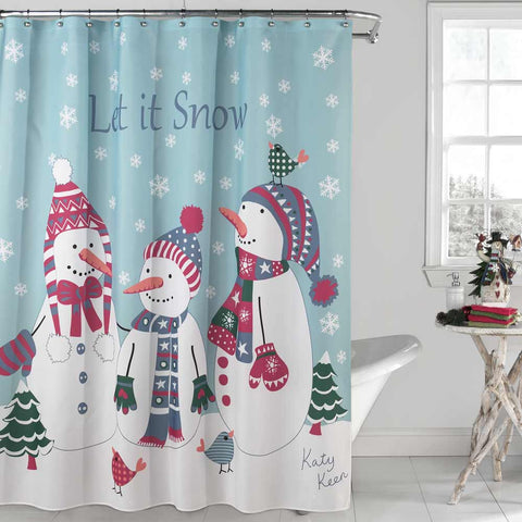 Multi Let It Snow Fabric Shower Curtain hanging on a shower curtain rod