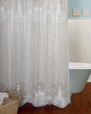 Lighthouse Lace Fabric Shower Curtain