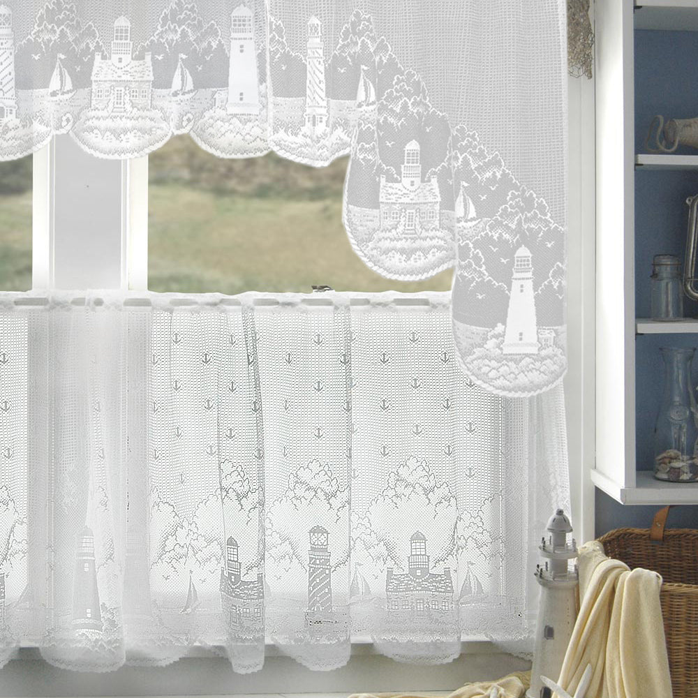 Lighthouse Kitchen Tier, Swags and Valance