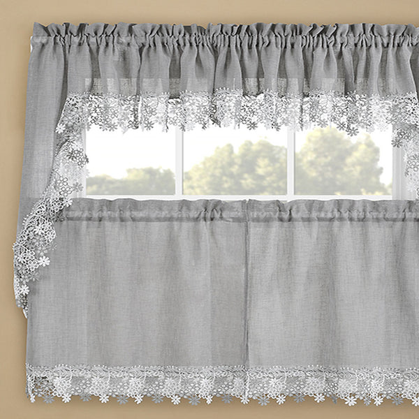Gray Lillian Macramé Band Kitchen Valance, Swags and Tier Curtain hanging on a curtain rod