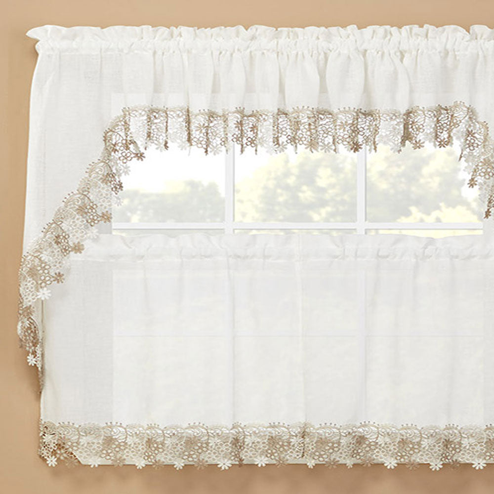 Lillian Macram 233 Band Kitchen Valance Swags And Tier Curtain