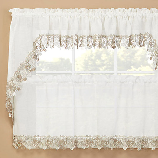Ivory Lillian Macramé Band Kitchen Valance, Swags and Tier Curtain hanging on a curtain rod