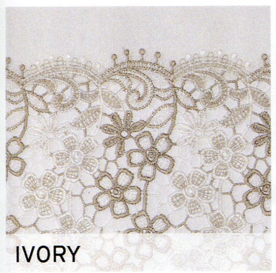 Up close shot of Ivory Lillian Macramé Band Fabric Shower Curtain fabric