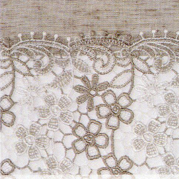 Closeup of Linen Lillian Macramé Band Kitchen Valance, Swags and Tier Curtain fabric