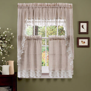 Linen Lillian Macramé Band Kitchen Valance, Swags and Tier Curtain hanging on a curtain rod