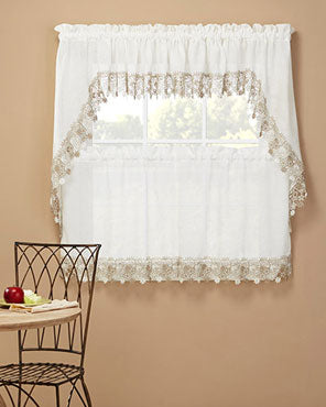 Lillian Macramé Band Tiers, Swag Pair & Insert Valance