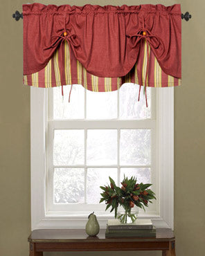Lisa Stripe Versa‑Tie Up Rod Pocket Valance Ellis Curtain