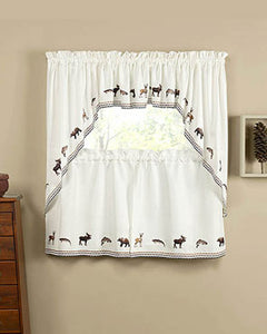 Lodge Embroidered Tier, Valance and Swag Curtains