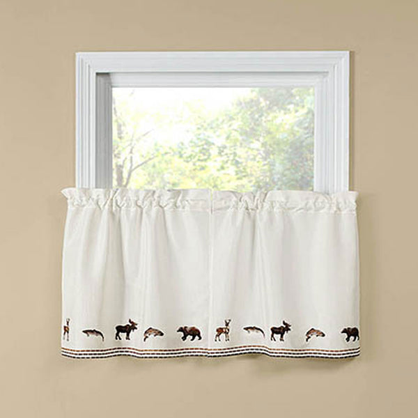 Lodge Embroidered Kitchen Tier Curtains hanging on curtain rods
