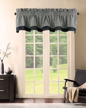 Logan Check Lined Bradford Valance hanging on a decorative rod