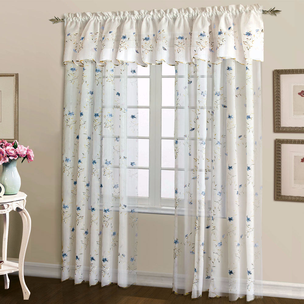 room floral rose jinchan retro amazon embroidered for com pocket voile buds living sheer dp drapes rod curtains