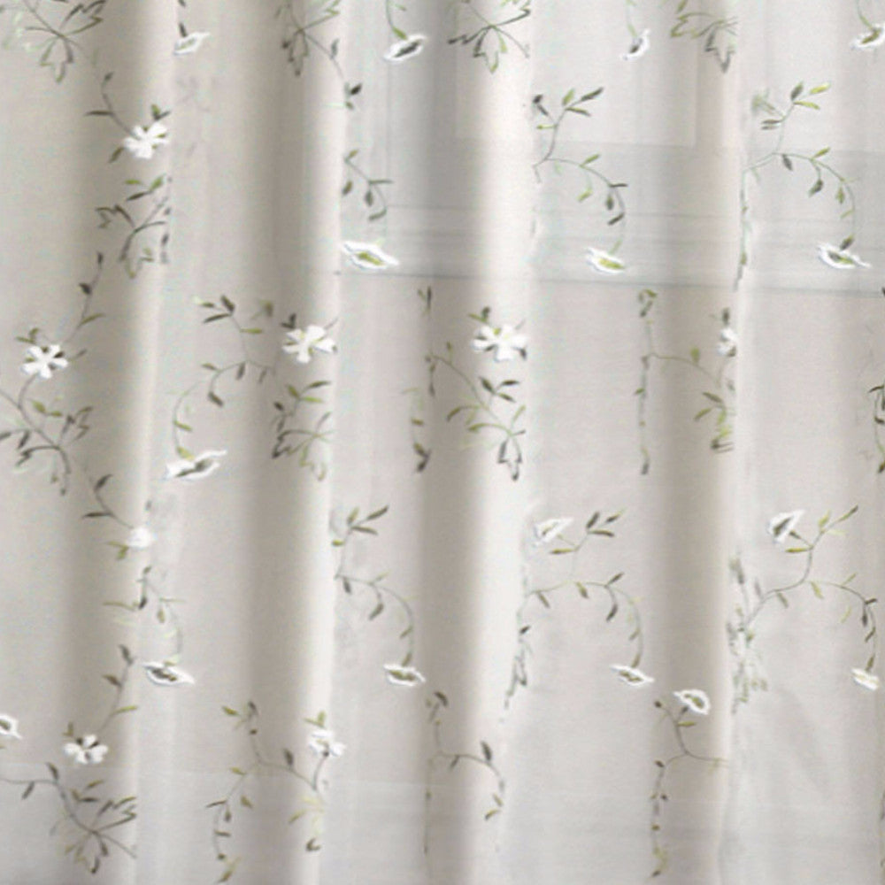 Loretta Embroidered Sheer Panel And Valance White Zoom