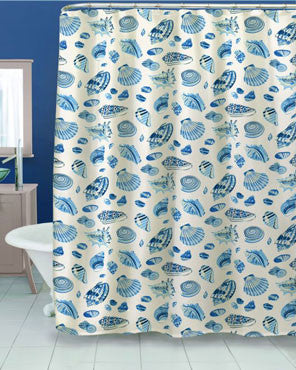 Blue Low Tide Fabric Shower Curtain hanging on a shower curtain rod