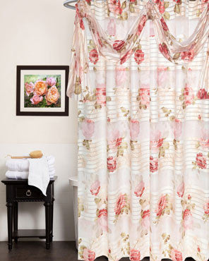 Beige Madeline-Fabric-Shower-Curtain hanging on a shower curtain rod