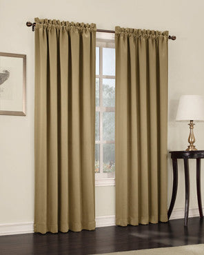 Taupe Madison Room Darkening Panels hanging on a decorative rod