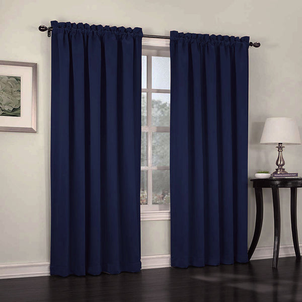 Navy Madison Room Darkening Panels hanging on a decorative rod