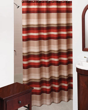 Red Madison Stripe Fabric Shower Curtain hanging on a shower curtain rod