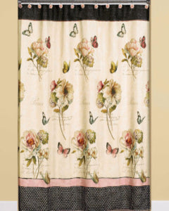 Multi Marche Aux Fleurs Fabric Shower Curtain hanging on a shower curtain rod