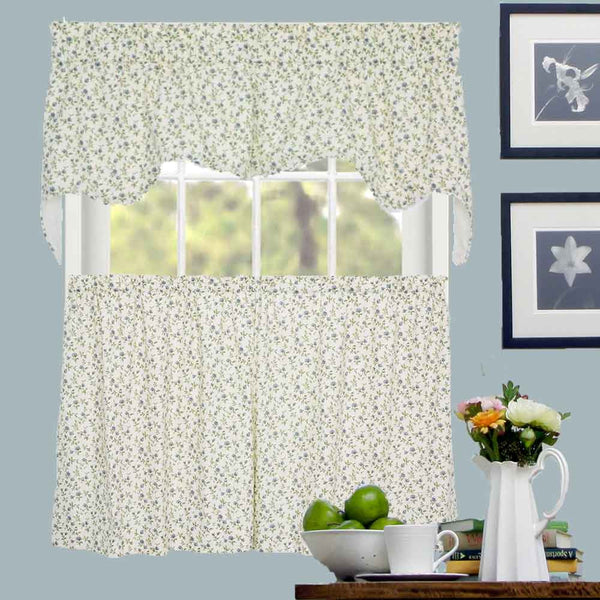 Green and Rose Marcia Floral Kitchen Valance & Tier Curtains hanging on curtain rods