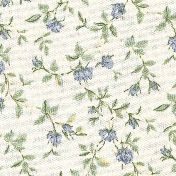 Closeup of Green and Blue Marcia Floral Kitchen Valance & Tier Curtains fabric and pattern