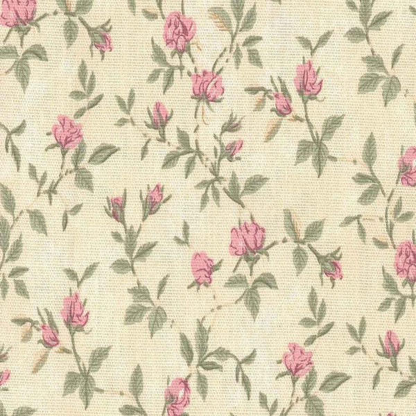 Closeup of Green and Rose Marcia Floral Kitchen Valance & Tier Curtains fabric and pattern