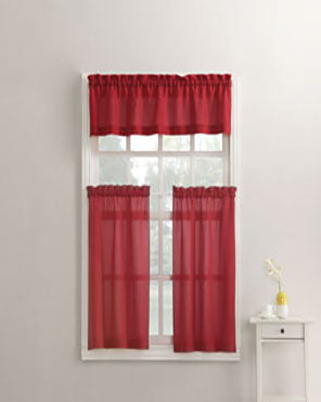 Red Martine Microfiber 3-Piece Kitchen Valance, Swags, and Tier Curtains hanging on curtain rods