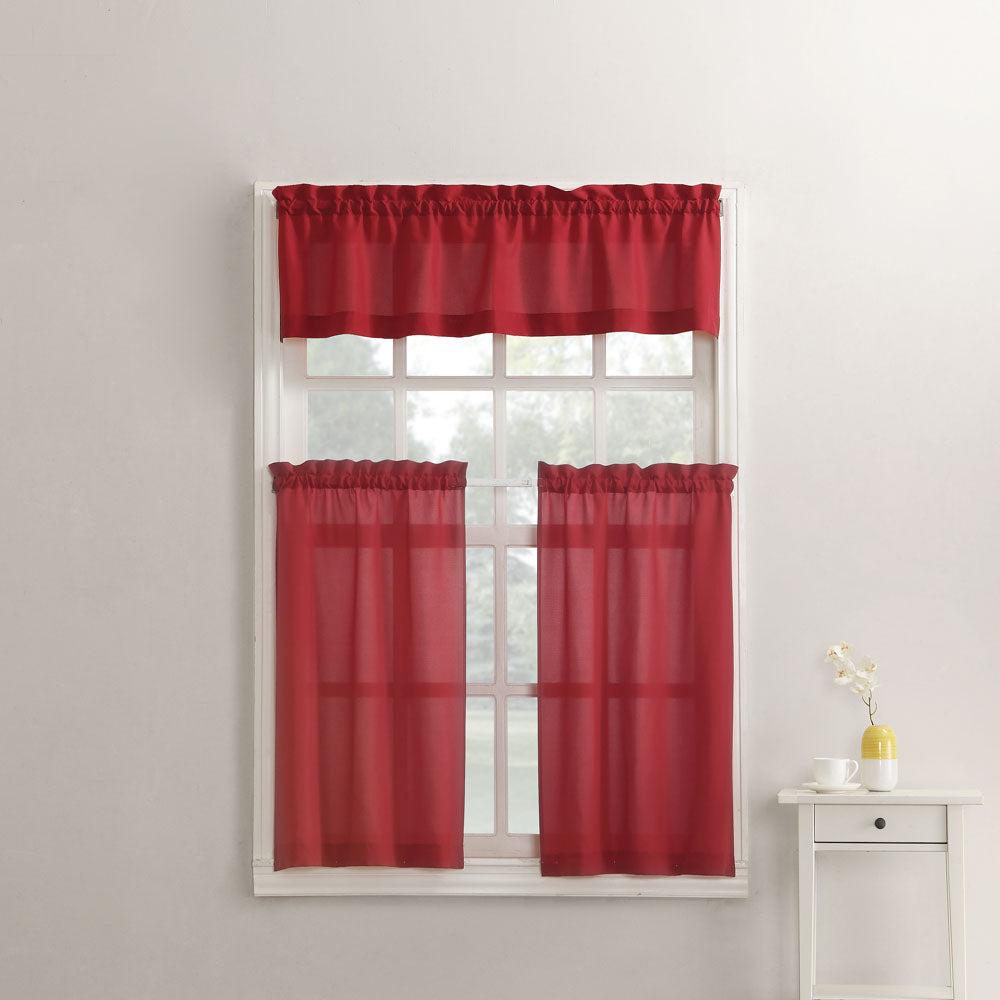 attractive Red And Grey Valance Part - 17: ... Red Martine Microfiber 3-Piece Kitchen Valance, Swags, and Tier  Curtains hanging on