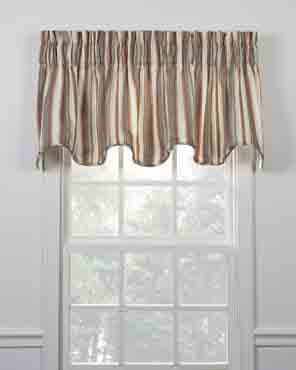 Mason Stripe Lined Scalloped Valance hanging on a curtain rod